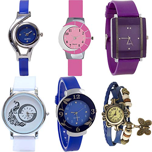 NIKOLA World Cup, Peacock, Flower, Butterfly Analog Blue and Pink and Purple and White Color Dial Women Watch - G2-G9-G15-G23-G25-G59 (Pack of 6)
