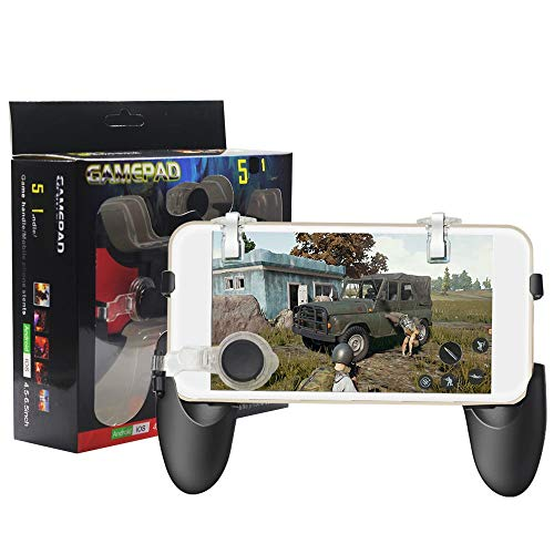 SMM 5-in-1 Gamepad Set for PUBG Games with 1 Game Handle, 2 L/R Metal Trigger, 2 Thumb Control for Oppo A3 (Black)