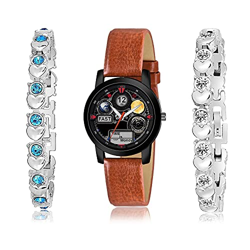 TIMENTER Collegian Bracelet and Watch Combo Analogue Black and Silver Color Dial Women Watch - (4-L-8)-GX3-GX12 (Pack of 3)