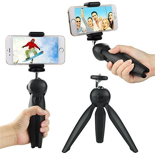 AARAV INDIA-Mini Tripod Universal Model 228 for Digital Camera & All Mobile Phones- Black Direction Hight Angle Adjustable