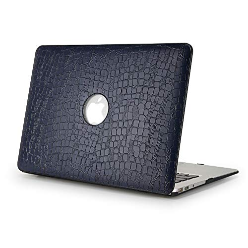 DURATEC Crocodile Pattern Hard Shell Case Cover Compatible MacBook Pro 13.3' Inch (Without TouchBar, Dark Blue)
