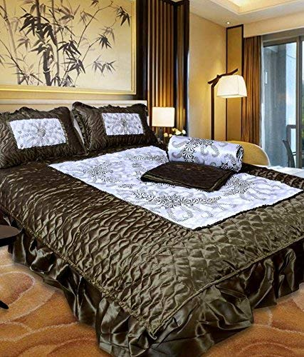 Jaipurwala Satin Gold Printed Double Bed Bedding Wedding Set (Set of 4 pcs) 1 Double Bed Bedsheet:: 2 Pillow Cover 1 Double Bed AC Comforter