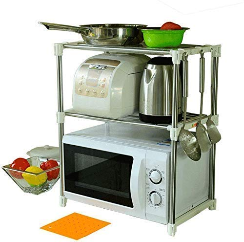 Pamirate Double Layer Space Saving Multipurpose Stainless Steel Microwave and Oven Stand with 12 Hooks on Stand