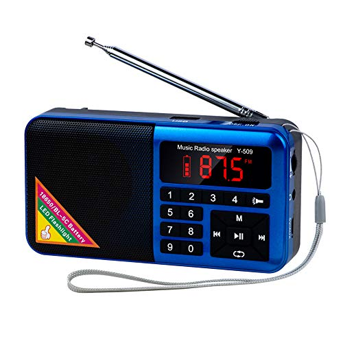 Decdeal S3330 Y-509 Portable FM Radio Digital Raido Speaker with LED Flashlight Screen Display MP3 Music Player