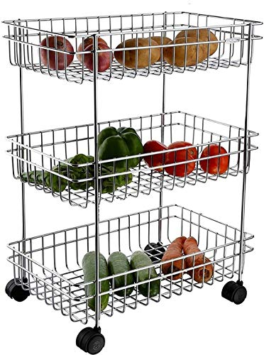 Aashirvad 3 Layer Fruit and Vegetable Stand Basket Trolley Moden Onion Potato Kitchen Storage Steel Rack