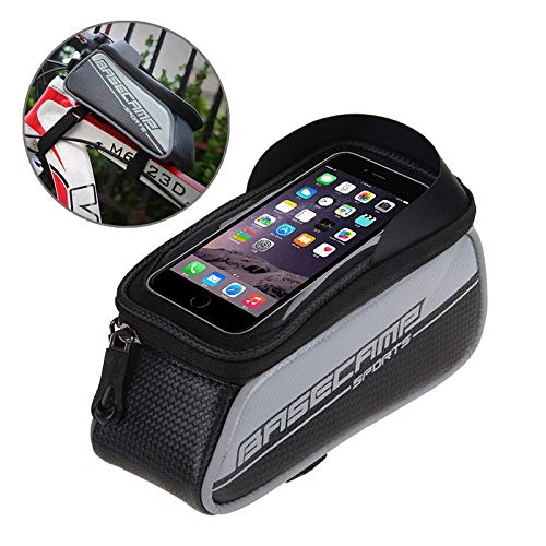 AmaZeus Basecamp BC-302 Bicycle Phone Bags Mountain Road Bike Front Head Top Frame Handlebar Bag with Transparent Window & Sun Visor for 12 * 7cm and Below Smartphones, Small Size(Silver)