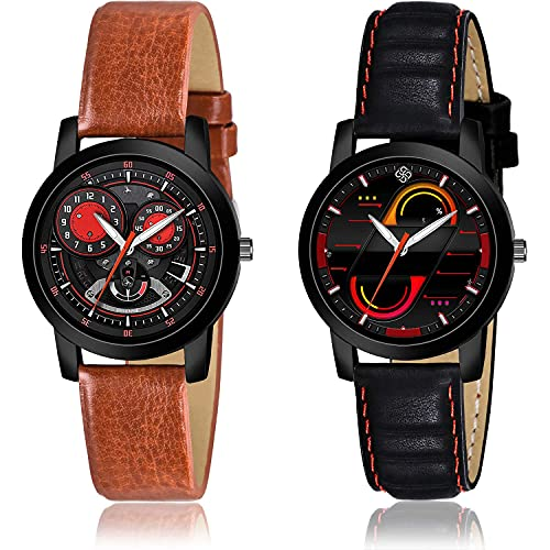 GROOT Party Wedding Analogue Black Color Dial Women Watch - (37-L-8)-(1-L-5) (Pack of 2)