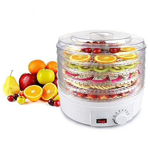 Saukhy Home Plastic Electric Transparent 5 Tier Countertop Dry Food Saver/Dehydrator/Preserver Jerky Maker Machine with Adjustable Temperature Control (White) Large Diameter