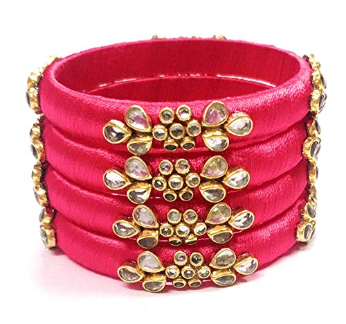 S.Z_COLLECTIONS Hand made silk threaded bangle with Kundan work for party and causal wear for woman and Girls in dark pink colour available in 2.4,2.6,2.8 (2.8)