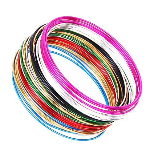 ELECTROPRIME 50 Multicolor Seamless Thin Hoops Bracelet Cuff Bangle Wristband