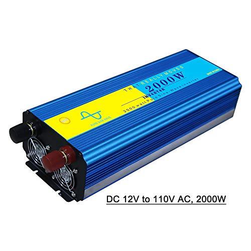 Andoer Power Inverter Vehicle Power Converter Universal Pure Sine Wave DC 12V to 110V AC, 2000W