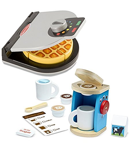 Bundle Includes 2 Items - Melissa Doug Press and Serve Wooden Waffle Set (23 pcs) - Play Food and Kitchen Accessories and Melissa Doug 11-Piece Brew and Serve Wooden Coffee Maker Set