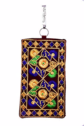 Balaji Lifestyle Designer embroidered Mobile Phone Pouch Cover with Purse Pocket and Sari Hook for Women