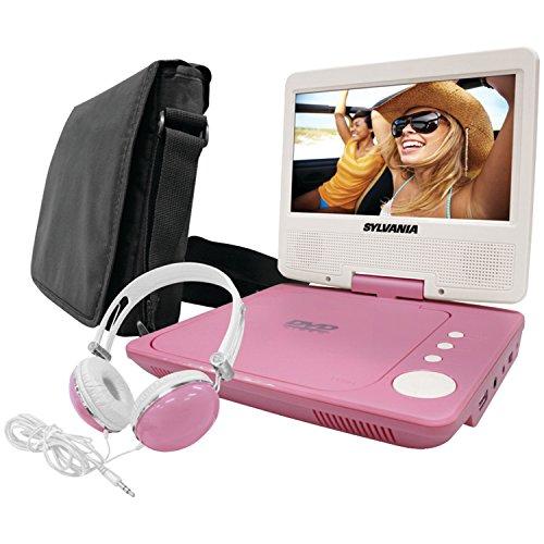 "SYLVANIA SDVD7060-COMBO-PINK 7"""" Swivel-Screen Portable DVD Player Bundle (Pink)"