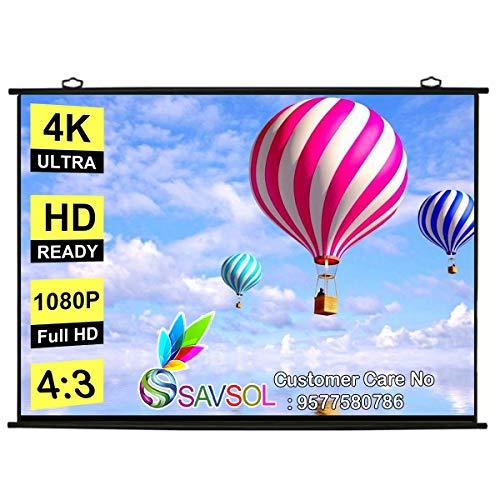 "SAVSOL Map Type Projector Screen, 8 ft (W) x 6 ft (H) - 120"" Inch Diagonal 4:03 Aspect Ratio, in Ultra HD, 3D, 4K Technology (8 Feet (W) x 6 Feet (H) - 120"" Inch)"