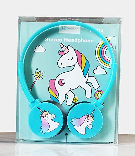 BestTrend Unicorn Kids Wire Headphone Without mic, 3.5mm Jack Bass Booster Foldable Adjustable On-Ear Headphones, Compatible with Cellphones, Tablets, PC (Age 4 to 15 Years) (Sky Blue)
