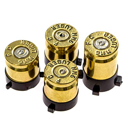The Gaming Shop Xbox One Bullet Buttons Raplacement A B X Y Real Bullet Brass Casings Gold Brass w/ Silver Nickel Primer