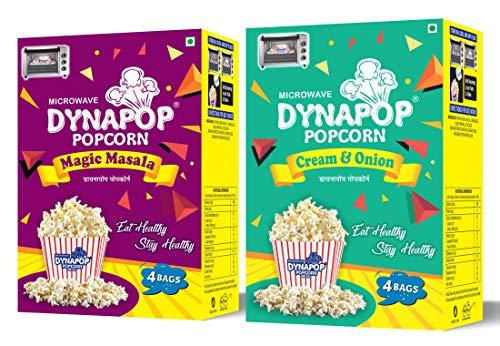 Dynapop® Microwave Popcorn Cream n Onion & Magic Masala Combo Pack 800g (2 x Pack of 4 x 100g)