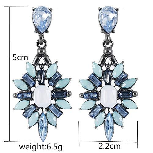3nh Ethnic Flower Long Drop Earrings Jewelry Statement Earrings Big (Material: Crystal)