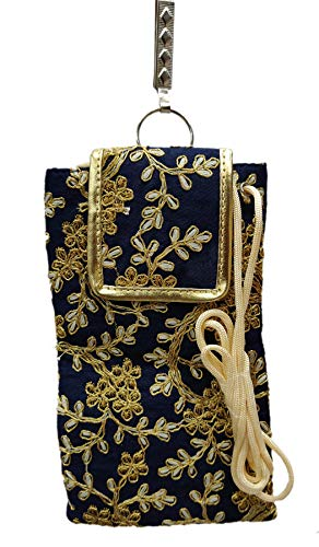 STYLO G Women's Mobile Cover for big mobile phones with Purse Pocket and Sari Hook (Navy Blue)