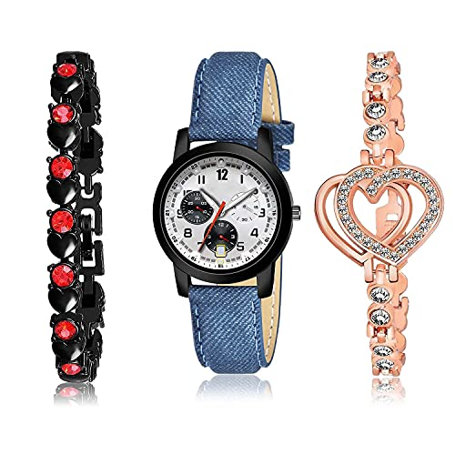 GROOT Gift Bracelet and Watch Combo Analogue Grey,Black and Rose Gold Color Dial Women Watch - (21-L-2)-GX1-GX8 (Pack of 3)