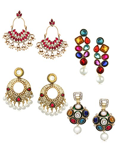 Zaveri Pearls Set of 4 Combo Ethnic Earrings For Women - ZPFK6284