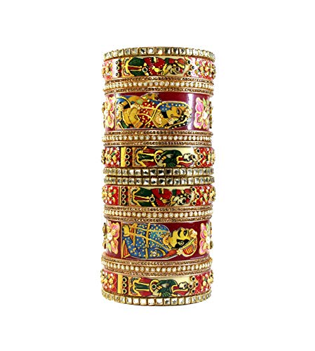 Imprexis Store Hand Printed Raja Rani Design Traditional Kada Set for Women/Girls Rajasthani Chuda Bangles for Any Special Occasion (2.6)