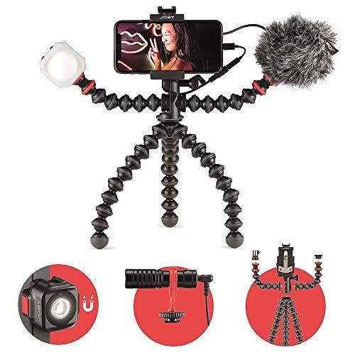 JOBY GorillaPod Mobile Vlogging Kit (Smartphone Rig, Wavo Mobile Mic, Beamo Mini LED Light) Flexible Tripod, Phone Holder, Microphone, Light, Vlogger, IRL, Youtuber, Mobile, Content Creator