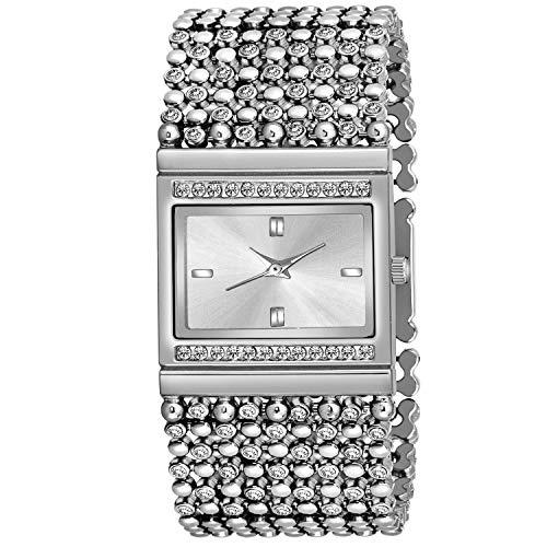 Aclox1 Silver Jewel Diamond Studded Bracelet Quartz Analog Watch