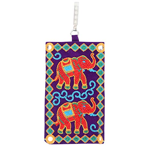 Mandani Sales Women's Cotton Designer Embroided Mobile-Phone Pouch Cover Rich Embroidery in Traditional Indian Style and Sari Hook for Women (Purple)