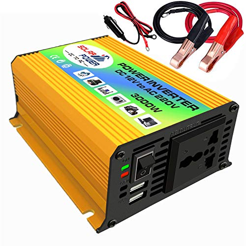 Honelife Peaks Power 3000W Modified Sine Wave Inverter High Frequency Power Inverter DC 12V to AC 220V Converter Car Power Charger Inverter with 2.1A Dual USB Port Battery Clips