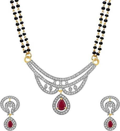 YouBella Jewellery Women's Pride American Diamond Gold Plated Mangalsutra Pendant with Chain and Earrings for Women