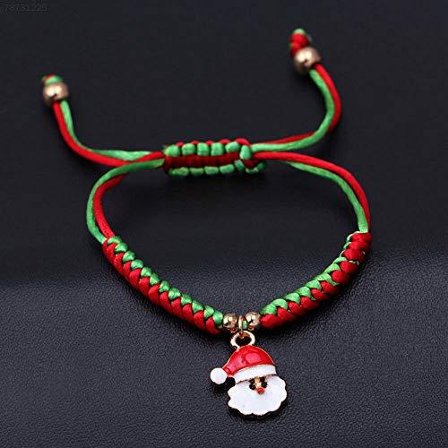 ELECTROPRIME 63F8 Christmas Bracelet Santa Claus Pendant Fashion Charm Woven Bangle Jewelry