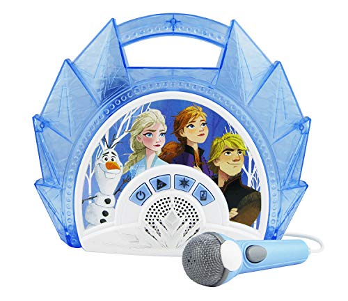 eKids Frozen 2 Sing Along Boombox with Microphone, Built in Music, Flashing Lights, Real Working Mic for Kids Karaoke Machine, Connects Mp3 Player Aux in Audio Device