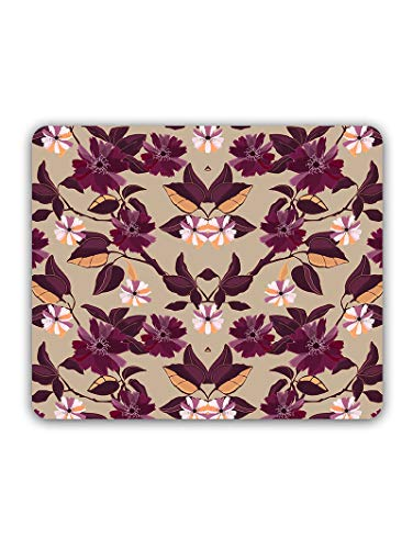Madanyu Designer Mousepad Non-Slip Rubber Base for Gamers - HD Print - Purple Flowers
