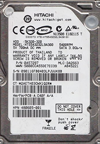 Hitachi HTS543232L9A300 TravelStar 320GB 5400 RPM 8MB Buffer SATA II 7 pin 2.5 Inch Hard Drive.