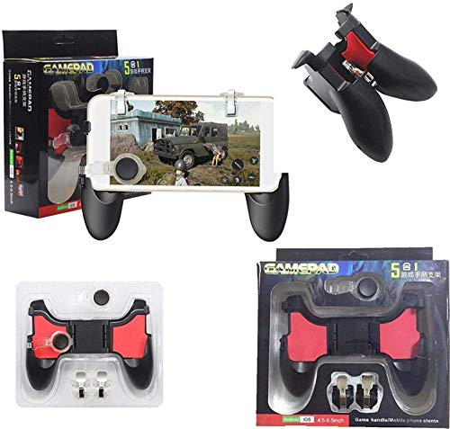Phonefinity Mobile Remote Controller Gamepad Holder Handle Joystick Triggers L1 R1 Shoot Aim Button for Smartphones Mobile (Red & Black)