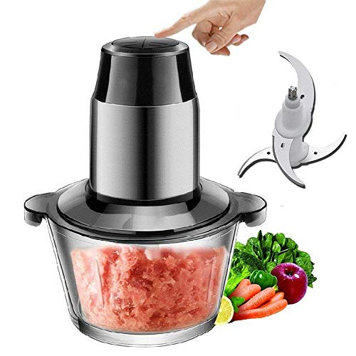 Akszone Meat Grinders Electric Food Processor, Multipurpose Smart Kitchen Food Chopper Vegetable Fruit Cutter Onion Slicer Dicer, Blender and Mincer, Glass Bowl