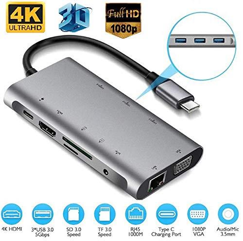 Microware USB C Hub & Dock, USB C Adapter, 10 in 1 Thunderbolt 3 hub 1000M RJ45 Ethernet, 4K HDMI, VGA, USB 3.0 Ports, PD 2.0 Charging Port, Card Reader, Audio Mic Port Mac Book, Chromebook More
