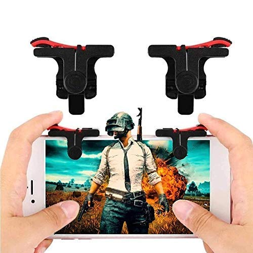 WOXOT® Slope Shape Pubg Triggers Cum Gamepad Joystick Compatible with All Smartphones - (Dark Red)