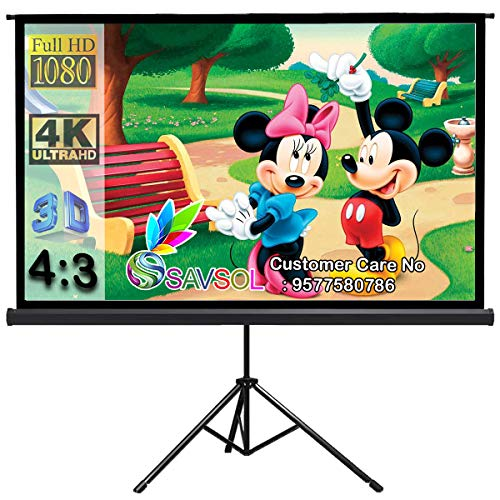 """SAVSOL Tripod Stand Projector Screen (7 Ft. (W) x 5 Ft. (H) - 100"""" Inch) Diagonal View in 4:3 Ratio Aspect, Ultra HD, 4K Technology, Active 3D"""