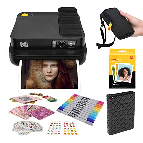 KODAK Smile Classic Digital Instant Camera with Bluetooth (Black) Stickers Bundle