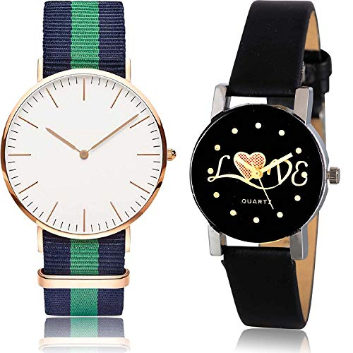 NEUTRON Love Valentine Analog White and Black Color Dial Women Watch - GC20-G390 (Pack of 2)