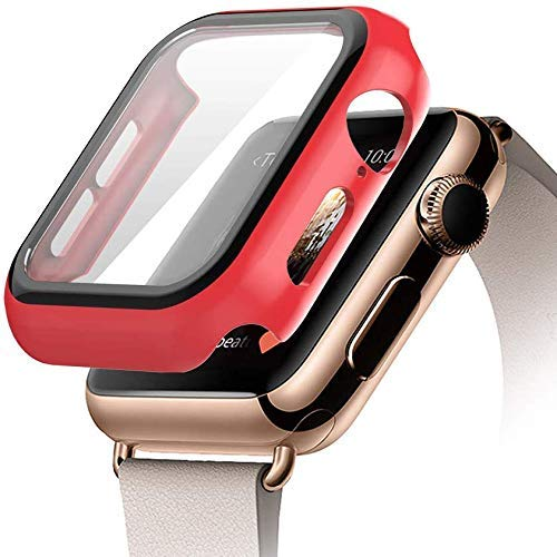 AE Mobile Accessories Compatible iWatch Case 42MM with Screen Protector Accessories Slim Guard Thin Bumper Full Coverage Matte Hard Cover Defense Edge RED (42MM)