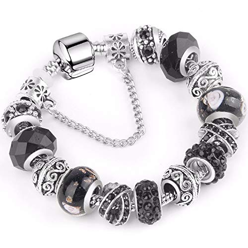 3nh Jewellery Charm Bracelets for Women 925 Plated Silver Chain Bracelets & Bangles (Material: Crystal)