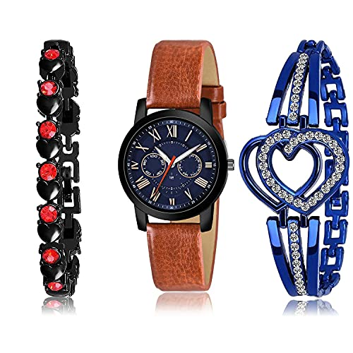 NEUTRON Chronograph Bracelet and Watch Combo Analogue Blue and Black Color Dial Women Watch - (62-L-8)-GX1-GX6 (Pack of 3)