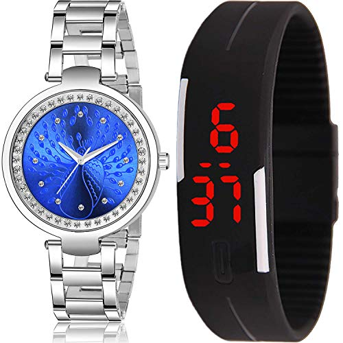 NEUTRON Chain and Magnet Analogue - Digital Blue and Black Color Dial Women Watch - GM210-GC25 (Pack of 2)