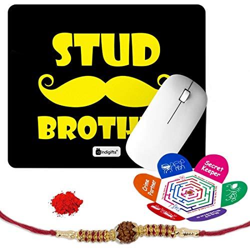 Indigifts Rakshabandhan Gifts for Brother Stud Brother Quote Printed Mouse Pad 8.5x7 inches, Rudraksha Rakhi, Roli & Greeting Card - Rakhi for Brother with Gifts, Raksha Bandhan Gifts, Rakhi Gifts for Brother