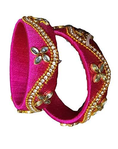 Zircon Work Silk Thread Bangles for Women Girls(Pink, 2.4) (Green, 2.4)