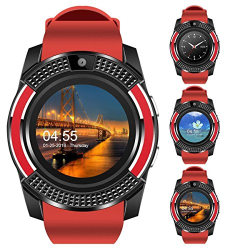 IIK Collection Bluetooth V8 (4G and SIM Card Support) Smart Wrist Watch with Monitoring Display, Camera and Pedometer Health Features for Boys and Girls - (ED-SW-V8-009-Red)